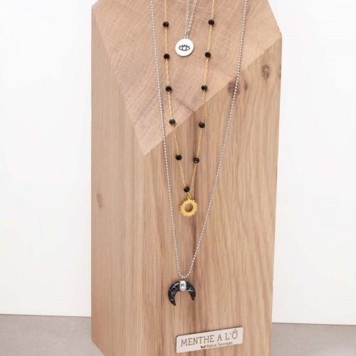 Bijoux collier Ethnique Multi-rangs EYE OF MOON Gold Silver Menthe À l'O acier inoxydable doré argent Howlite Bijoux Sauvages