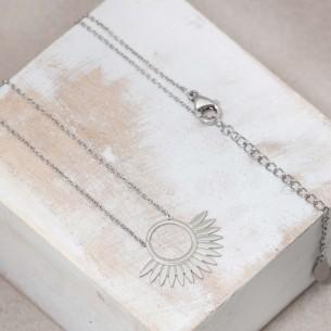 Bijoux collier Symbole solaire fin court JANGO Silver Menthe À l'O acier inoxydable Argent Bijoux Sauvages