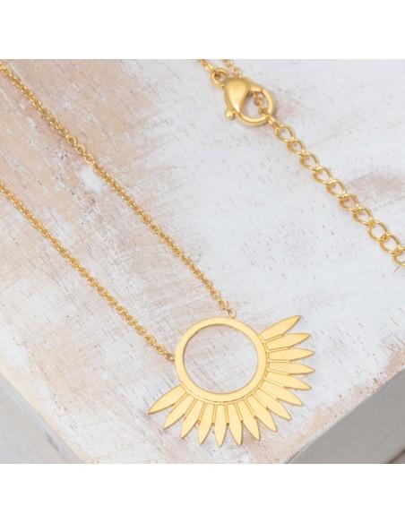 Bijoux collier Symbole solaire fin court JANGO Gold Menthe À l'O acier inoxydable Gold Bijoux Sauvages