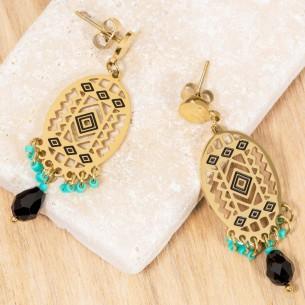 Bijoux boucle d'oreille Menthe À l'O EVERGLADES Aqua Gold pendantes acier inoxydable doré vert d'eau symbole amérindien Bijoux