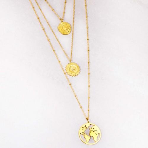Bijoux collier multi-rangs symbole solaire astre planète OFELIE WORLD Gold Menthe À l'O acier inoxydable doré Bijoux Sauvages