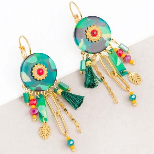 Bijoux boucle d'oreille Menthe À l'O KERINE Color Green Gold pendantes ethniques acier doré jaspe rouge Bijoux Sauvages