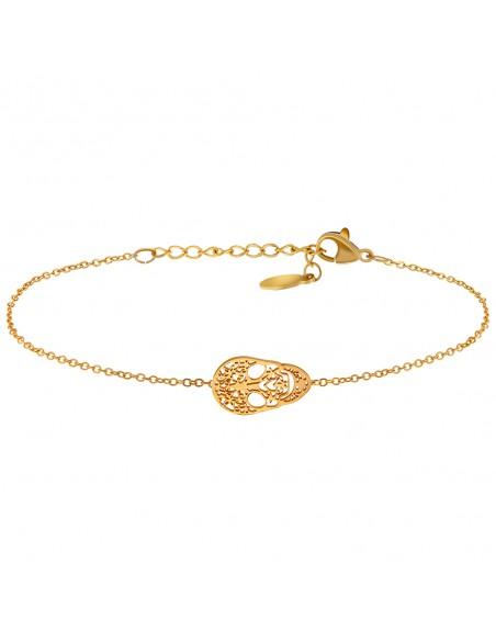 Bijoux bracelet calaveras tête de mort BAYUKA Menthe À l'O fin  acier inoxydable doré argent rosé Bijoux Sauvages