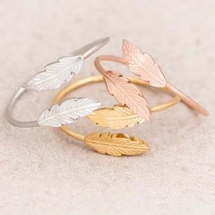 Bijoux bague plume BIRDY  Menthe À l'O fin  acier inoxydable doré argent rosé Bijoux Sauvages