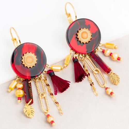 Bijoux boucle d'oreille Menthe À l'O KERINE Red Black Gold pendantes ethniques acier doré agathe jaune Bijoux Sauvages