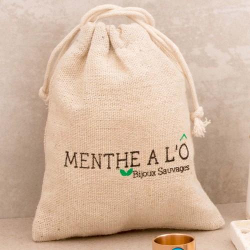 Pochon cadeau ECO-RECYCLE emballage griffé Menthe À l'O Bijoux Sauvages