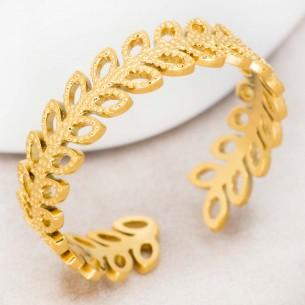 Bijoux bague CESARIA Gold Menthe À l'O jonc réglable acier inoxydable doré anneau couronne feuille ajouré Bijoux Sauvages