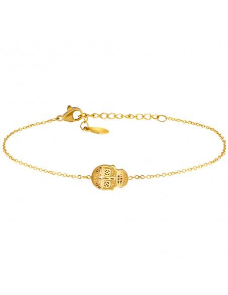 Bijoux bracelet tête de mort CALVERA Menthe À l'O fin  acier inoxydable doré argent rosé Bijoux Sauvages