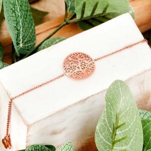Bijoux bracelet arbre de vie LIFE Menthe À l'O fin  acier inoxydable rosé Bijoux Sauvages