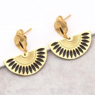 Bijoux boucle d'oreille Menthe À l'O GYPTOS Black gold courte pendantes acier inoxydable émaux noir doré Bijoux Sauvages
