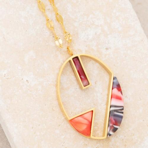 Bijoux collier minimaliste fin court CALYPSO Coral Gold Menthe À l'O acier inoxydable doré rouge corail Bijoux Sauvages