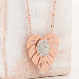 Bijoux collier fin court PALMAS Pink Gold Menthe À l'O acier inoxydable feuille rosé cristal Bijoux Sauvages