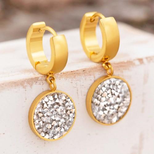 Bijoux boucle d'oreille Menthe À l'O DUSTIN mini créole courte acier inoxydable doré argent cristal Bijoux Sauvages