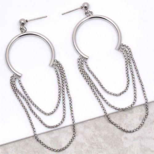 Bijoux boucle d'oreille Menthe À l'O CAROLINA Silver créoles pendantes acier inoxydable plusieurs chaines argent Bijoux Sauvages