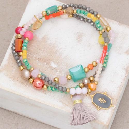 Bijoux bracelet fin MARGO Multi Gold Menthe À l'O acier doré plusieurs rangées perles Multicolores Bijoux Sauvages