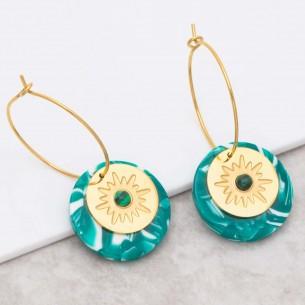 Bijoux boucle d'oreille Menthe À l'O ASTORIA Green Gold créoles acier Malachite verte symbole étoile doré Bijoux Sauvages