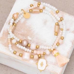 Bijoux bracelet fin MARGO White Gold Menthe À l'O acier doré plusieurs rangées perles blanches Bijoux Sauvages