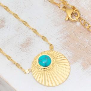 Bijoux collier Ethnique fin court MOARA Blue Gold Menthe À l'O acier inoxydable doré bleu Turquoise Bijoux Sauvages