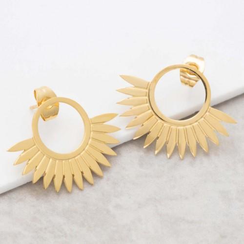 Bijoux boucle d'oreille Menthe À l'O JANGO Gold acier inoxydable doré puces demi lune symbole solaire Bijoux