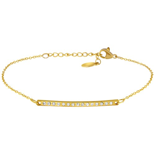 Bijoux bracelet LORD Menthe À l'O fin  acier inoxydable doré argent cristal Bijoux Sauvages