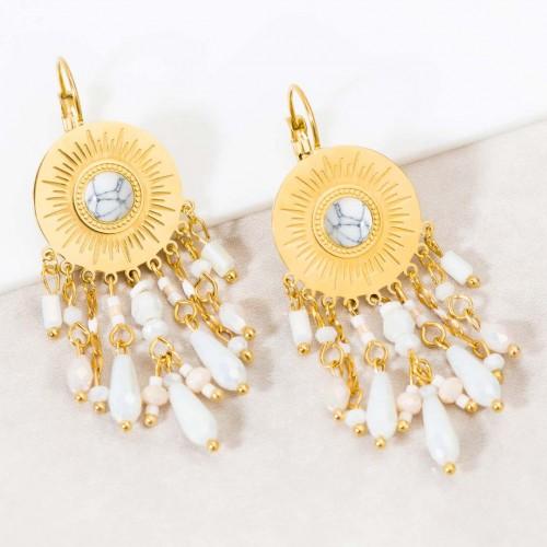 LOUISE White Gold boucles d'oreilles pendantes solaires acier doré cristal et pierre agate blanche