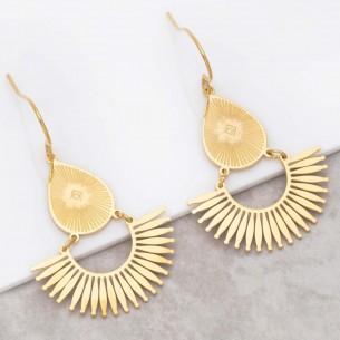 Bijoux boucle d'oreille Menthe À l'O LOUXANE Gold pendantes acier inoxydable doré symbole solaire Bijoux Sauvages