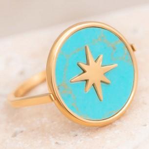 Bijoux bague étoile SIRAH Menthe À l'O fin  acier inoxydable doré résine Bijoux Sauvages