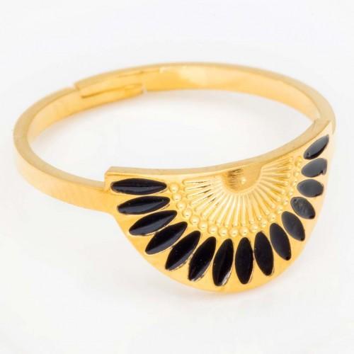 Bague GYPTOS Gold & Black Jonc réglable flexible Ethnique amérindien Doré et Noir Acier inoxydable doré à l'or fin émaux