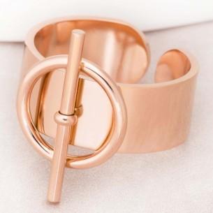 Bague JUPITER Rose Gold Jonc réglable flexible Minimaliste Rosé Acier inoxydable doré à l'or fin rosé