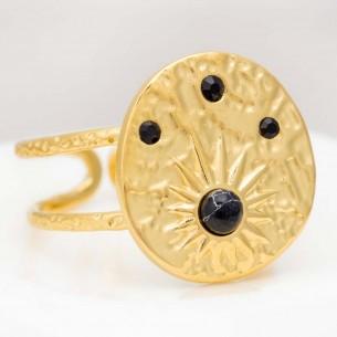 Bague GALAXA Gold & Black Cabochon réglable flexible Symbole solaire Doré et Noir Acier inoxydable doré à l'or fin Howlite noire