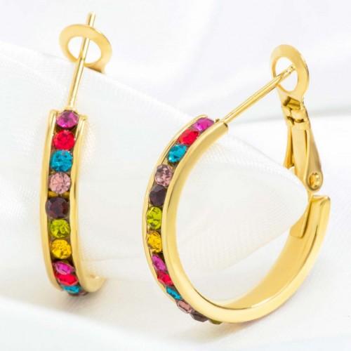 Boucles d'oreilles ORIANA STEEL COLOR GOLD SMALL SIZE Créoles Doré et Multicolore Acier inoxydable Cristaux sertis