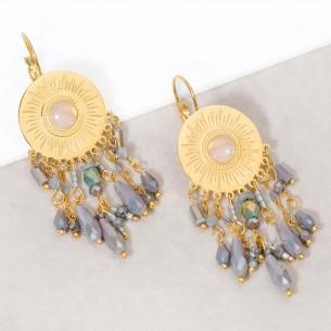 LOUISE Grey Gold boucles d'oreilles pendantes solaires acier doré cristal et pierre de lune