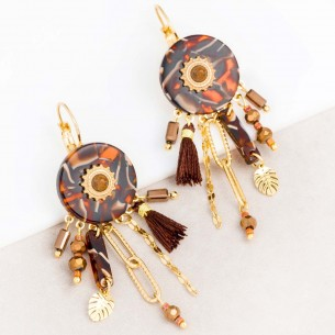KERINE Brown Gold boucles d'oreilles pendantes ethniques acier doré et chocolat et pierre jaspe beige