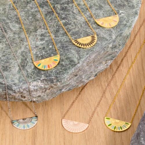 GYPTOS Gold Silver Rose Gold collier court ethnique demi-lune acier émaux doré argent rosé