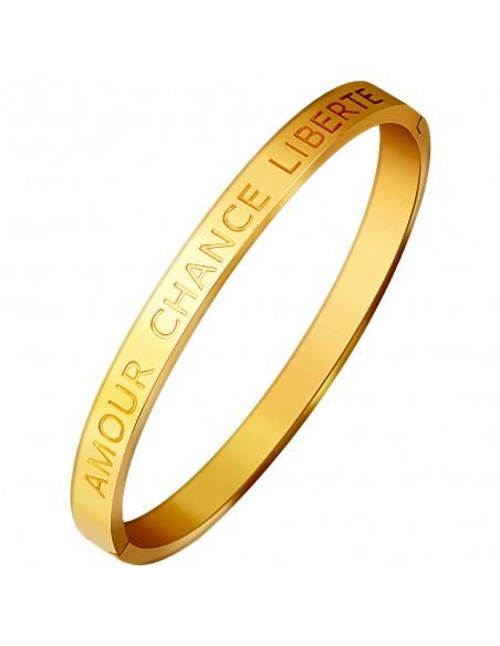 Bijoux bracelet jonc HAPPY Menthe À l'O fin acier inoxydable doré argent Bijoux Sauvages