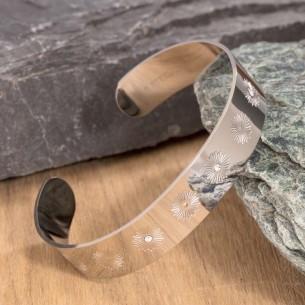 SOLSTICE Silver bracelet manchette cristal acier symbole solaire
