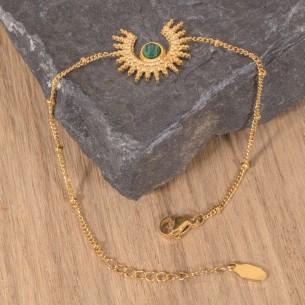 SUNSTICE Green Gold bracelet fin acier doré symbole solaire malachite verte