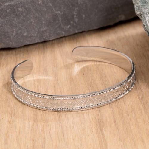 CLEO Silver bracelet jonc acier symbole ethnique
