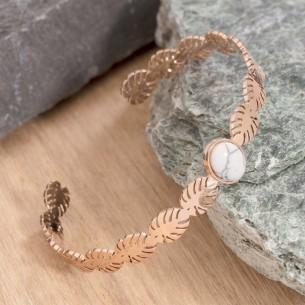 JANGO White & Rose Gold bracelet jonc acier rosé feuillage nature howlite blanche