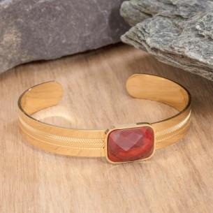 GEOLYS Red Gold bracelet manchette acier doré jaspe rouge