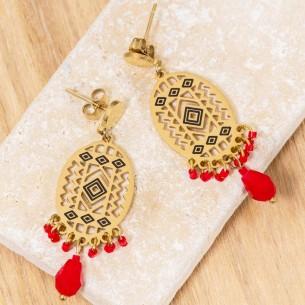 Boucles d'oreilles EVERGLADES Red Gold Pendantes Ethnique amérindien Doré et Rouge Acier inoxydable doré à l'or fin Cristaux