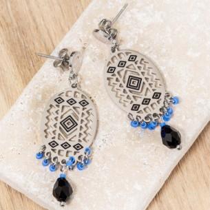 Boucles d'oreilles EVERGLADES Blue Silver Pendantes courtes Ethnique amérindien Argent et Bleu Acier inoxydable Cristaux sertis