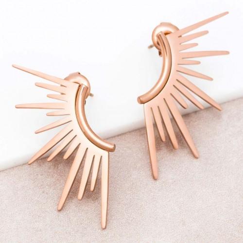 Boucles d'oreilles SUNRISE Rose Gold Puces arc de l'oreille Solaire Rosé et Rosé Acier inoxydable doré à l'or fin rosé