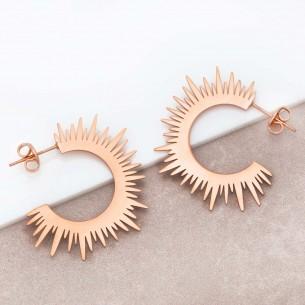 Boucles d'oreilles SUNSHINE Rose Gold Créoles disques Solaire Rosé Acier inoxydable doré à l'or fin rosé