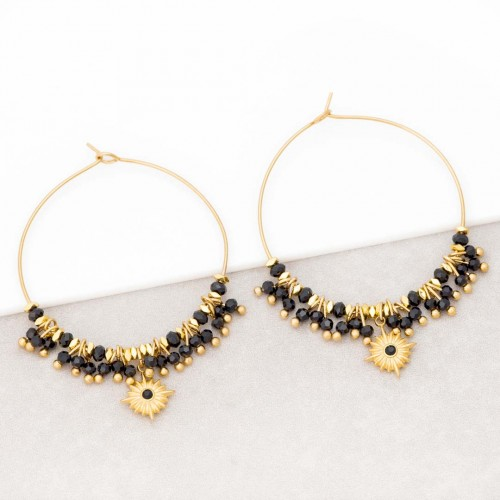 Boucles d'oreilles ESTELLO Black Gold Créoles à pendentif Solaire Doré et Noir Acier inoxydable doré à l'or fin Cristaux sertis
