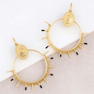 Boucles d'oreilles SAILOR Black Gold Pendantes ajourées Contemporain Doré et Noir Acier inoxydable doré à l'or fin émaux