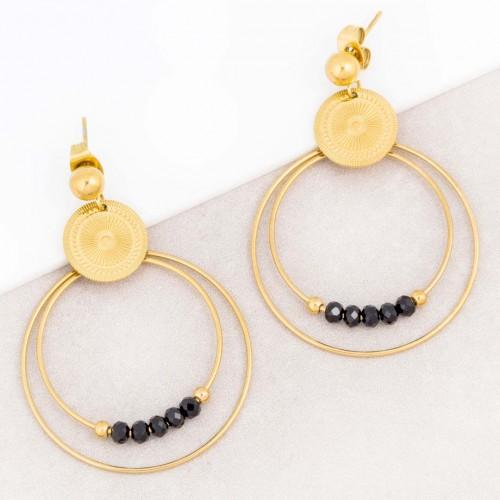 Boucles d'oreilles JUNA Black Gold Pendantes ajourées Ethnique amérindien Doré et Noir Acier inoxydable doré à l'or fin Cristaux