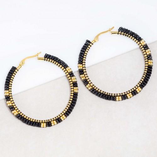 Boucles d'oreilles ERYS Black Gold Créoles disques Ethnique amérindien Doré et Noir Acier inoxydable Perles de cristal brodées