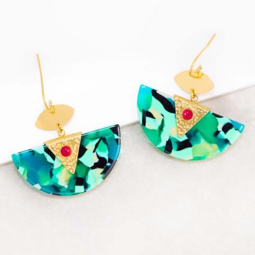 Boucles d'oreilles MINARAL Color Gold Pendantes pavées Terrazzo Doré et Multicolore Acier inoxydable Jaspe rouge et Résines
