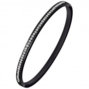 Bijoux bracelet jonc SMEET  Menthe À l'O fin  acier inoxydable Noir cristal Bijoux Sauvages